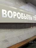 """Станция """"Воробьёвы горы"""". Путевой зал. Наименование станции на пилоне со стороны прибывающих поездов."""