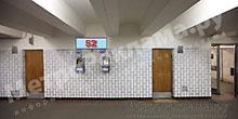 """Станция """"Бабушкинская"""". Южный подземный вестибюль станции. Подуличный переход, правая стена по выход пассажиров в город. Информационные указатели размером 1,2 х 0,4 м. Рекламное место ? 52."""