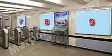 """Станция """"Бабушкинская"""". Северный подземный вестибюль станции. Несветовые щиты, рекламные места ??7, 8, 9. Хороший обзор по выходу пассажиров в город."""