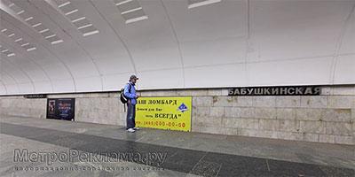 """Станция """"Бабушкинская"""". Станционный зал. Постеры на путевых стенах размером 4,0 х 2,0 м."""