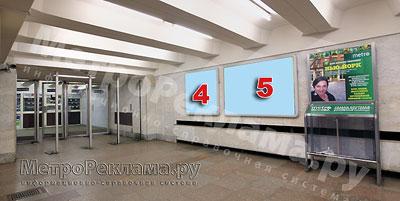 """Станция """"Ботанический сад"""". Севеный подземный вестибюль станции. Несветовые щиты, рекламные места ?? 4, 5. Хороший обзор по выходу пассажиров в город"""