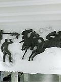 """Станция метро """"БЕГОВАЯ"""". Станция """"БЕГОВАЯ"""". Северный подземный вестибюль. Торцевые стены порталов над лестничными спусками украшены горельефами """"Могучие Рысаки"""" на тему конного спорта (скульптор Э.М.Ладыгин)."""