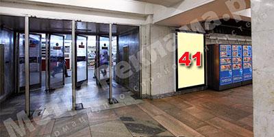"""Станция метро """"Беговая"""". Северный подземный вестибюль. Выход в город на Хорошевское шоссе. Рекламные места - щиты световые ?? 41, 1 размером 1,2 х 1,8 м."""