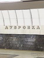 """Станция метро """"Дубровка"""" наименование станции на путевой стене."""