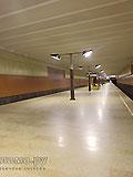 """Станция метро """"Волжская"""". Станционный зал. Высокий свод, без промежуточных опор, создаёт великолепное ощущения свободы и бесконечного пространства."""