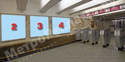 """Северный вестибюль станции  """"Марьино"""". Подземный вестибюль, несветовые щиты ?2, 3, 4 по выходу пассажиров в город"""